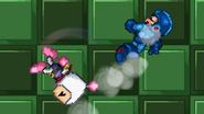 Bomberman using Bomb Kick to Mega Man in the air