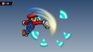 Mario breaking the target