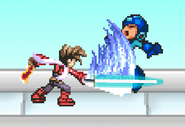 Lloyd hits Mega Man with the first early Beam Sword