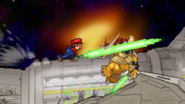 Mario attacking Bowser with the Beam Sword