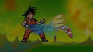 Super Sonic attacking Goku
