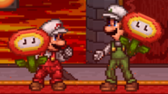 Mario Bros. holding a Fire Flowers