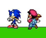 Mario using Cape to reverse Sonic