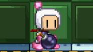 Bomberman placing the bomb on the ground