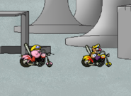 Wario and Kirby with Bikes
