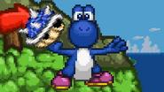 Yoshi holding a Spiny Shell