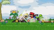 Mario throws the Yellow Shell to Wario