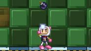 Bomberman throwing a bomb upward