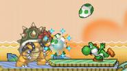 Yoshi throwing the eggs