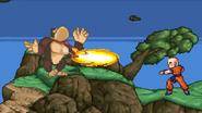 DK gets hit by Krillin's Kienzan