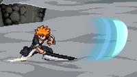 Ichigo's neutral special move, Getsuga Tenshō.