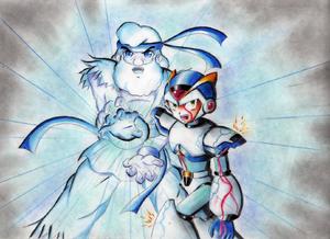 X and Dr Light HADOUKEN by Akira Hikari Destacado Wikia.png