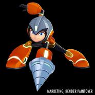 Mega Man Fully Charged Mega Man (Drill Man Schematic) Render