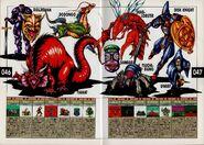 Dullahan, Tiamat, Dodongo, Dead Lobster, Dambala, Tsuchigumo, Disk Knight, and Dwarf. Artwork for Megami Tensei II.