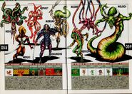 Medusa, Mezuki, Mephistophele, Momunofu, Morrigan, Merrow, Moloch, and a Mutant. Artwork for Megami Tensei II.