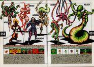 Medusa, Mezuki, Mephistophele, Momunofu, Morrigan, Merrow, Moloch, and a Mutant. Artwork for Megami Tensei II.