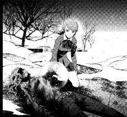 P3 manga Takaya's burnt body after being burn alive by Trismegistus
