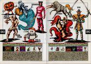 Jack-O-Lantern, Golem, Jinn, Jack Frost, Susano-O, Scylla, Stonka, and Shiva. Artwork for Megami Tensei II.