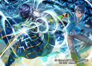 Itsuki Aoi and Chrom illustration by まよ for Fire Emblem Cipher Series 4