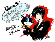 P5 llustration of the Protagonist and Morgana by Shigenori Soejima