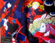 P5 Illustration of the Protagonist, Ryuji, Anne, Morgana and Yuske by Rokuro Saito