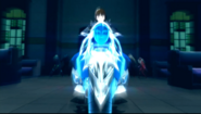 P5 Noir riding on her motorcycle Persona