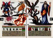 Girimehkala, Kin's Head, Cu Chullain, Kura-bebi, Griffon, Geryon, and Cronus. Artwork for Megami Tensei II.