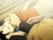 Koromaru in P4AU anime cutscene