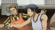 Daisuke playing basketball with his friend