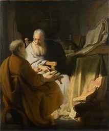 Rembrandt Two old men disputing 1628