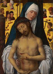 Hans Memling - The Man of Sorrows in the arms of the Virgin - Google Art Project