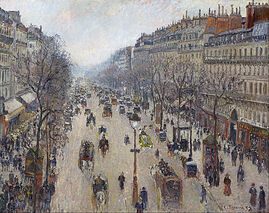 Camille Pissarro - Boulevard Montmartre, morning, cloudy weather - Google Art Project