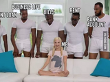 Cinco negros y una rubia