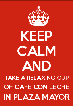 Relaxing cup of café con leche in Plaza Mayor