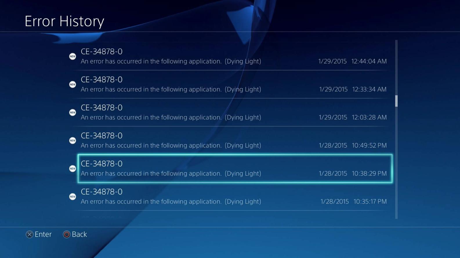 Playstation 4:Error CE-34878-0