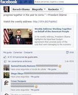 """Captura de pantalla de publicación (ahora borrada) de la página oficial de Barack Obama en Facebook. Se ven múltiples comentarios llenos de spam con la letra """"Ñ"""""""