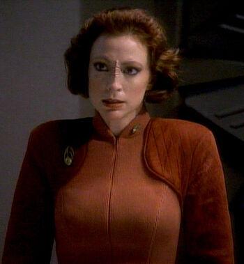 """Major Kira Nerys in <a href=""""/wiki/2369"""" title=""""2369"""">2369</a>"""