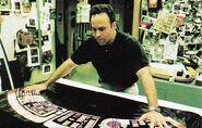 Scenic Artist Doug Drexler working on Starfleet interface graphics for Insurrection
