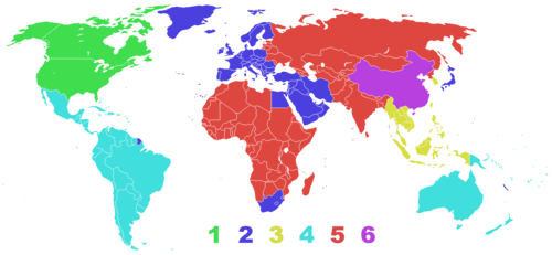A map of the world's DVD regions.