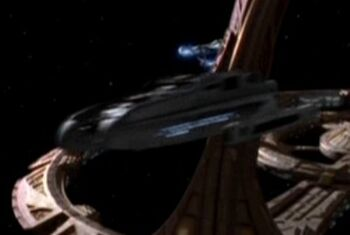 USS Nash leaving DS9, bow view