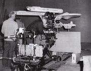 Linwood G. Dunn and crew shoot the 11-foot studio model for Space Seed.jpg