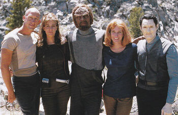 McDancer (second from left) with fellow stunt doubles filming Star Trek Insurrection