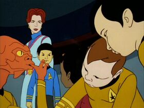 Sarah April and young Spock overlook the infantile Arex, Uhura, Kirk and Sulu.jpg