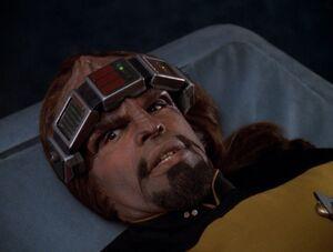 Worf in sickbay, 2370.jpg