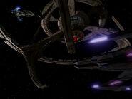 Jem'Hadar battle cruiser docked at lower pylon, 2373
