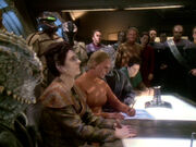 Female Changeling signs Treaty of Bajor