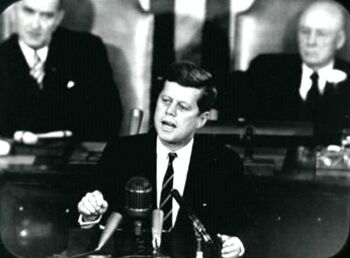 """John F. Kennedy giving his """"Decision to Go to the Moon"""" speech."""