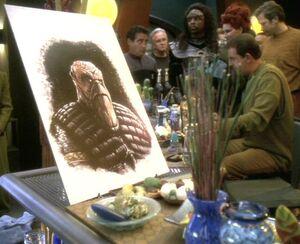 Morn art and Bajoran mourner.jpg