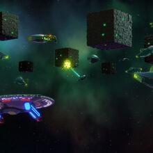USS Cerritos witnesses the Romulans fighting the Borg.jpg