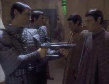 Jaron posing as Romulan soldier